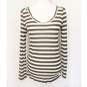 {Lou and Grey} Olive Striped Long Sleeve Top